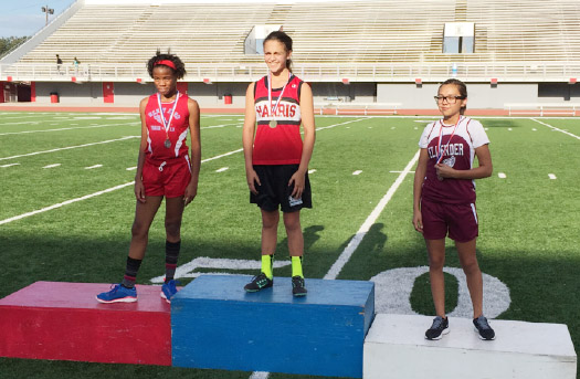 7th Grader Alexis Lavarine 2015 Public Middle School Jefferson Parish 800 meter champion against 2 - 8th grade AAU track opponents.