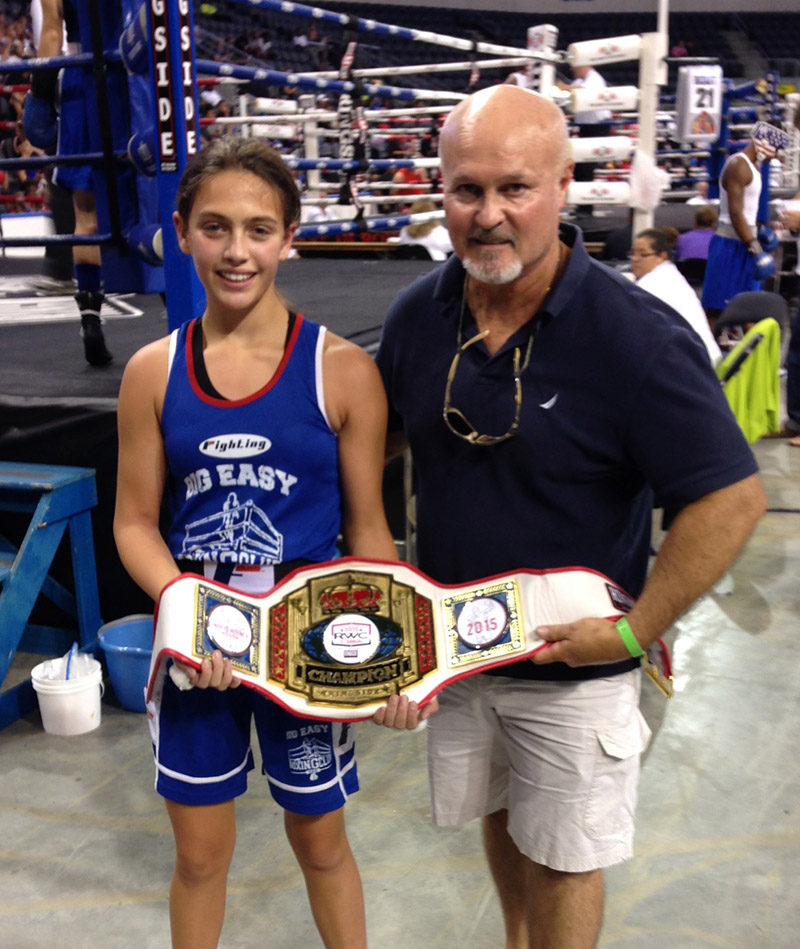 2015 National Golden Gloves. Alexis poses with a USA boxing official.