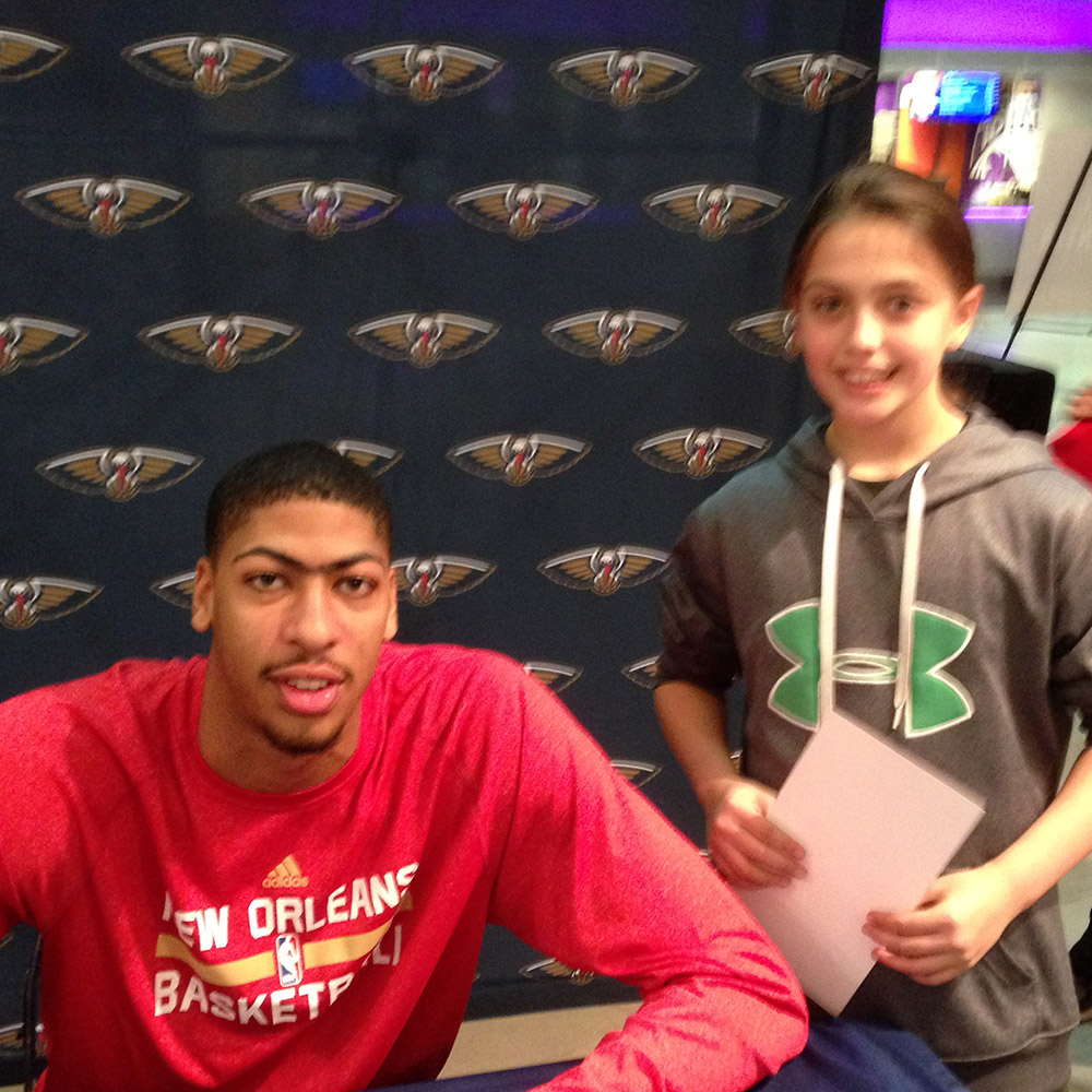 Alexis with NBA Pelicans Basketball Star Anthony Davis