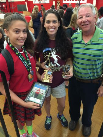 Alexis, with her mother Carla Lavarine, receives athletic awards 7th grade
