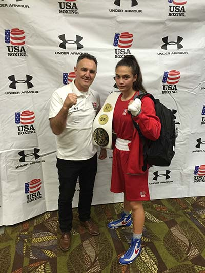 2016 USA National Team Member Alexis Lavarine poses with USA Olympic Boxing Coach Billy Walsh