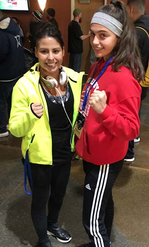 14 yr old Alexis Lavarine and 2012 Olympic Bronze Medalist Marlen Esparza at the USA National Qualifier in Kansas City, Missouri Dec 5th 2016