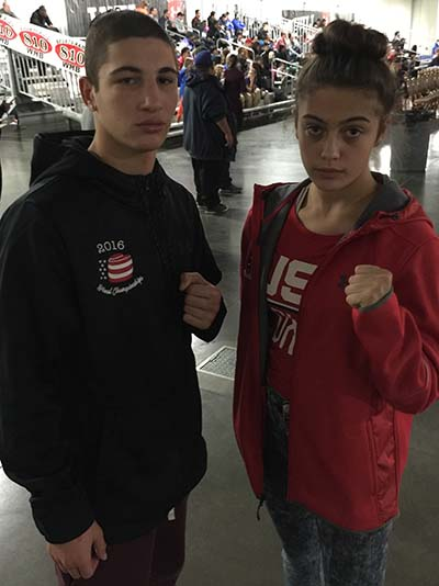 USA team Member Alexis Lavarine Poses for a picture with fellow USA team Member David Kamisky from California.
