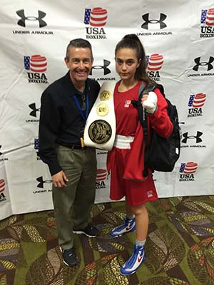 Alexis Lavarine Poses with Mike Makatee Executive Director for USA Amateur Boxing