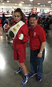 Alexis poses with USA Amateur Olympic coach Isreal after winning the USA National Team Tournament
