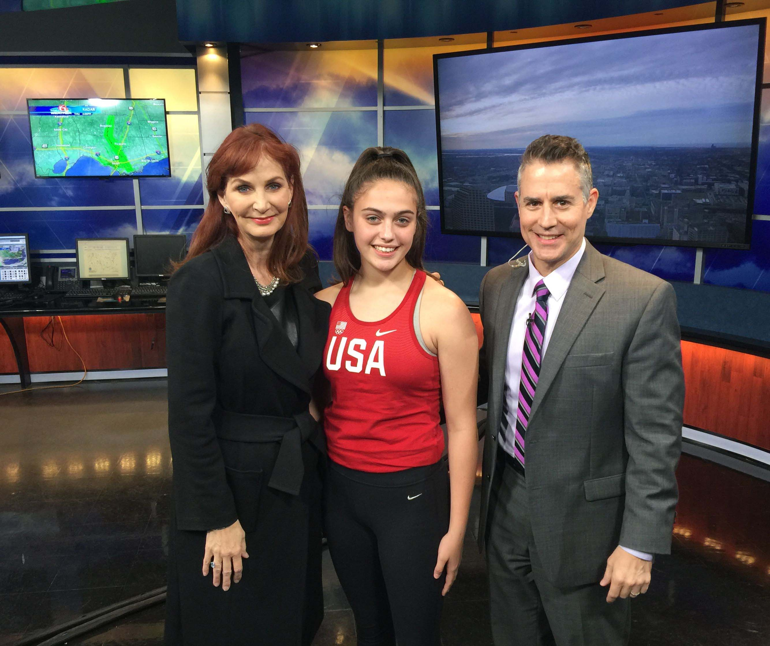 USA Team Member Alexis Lavarine with Meteorologist Margaret Orr