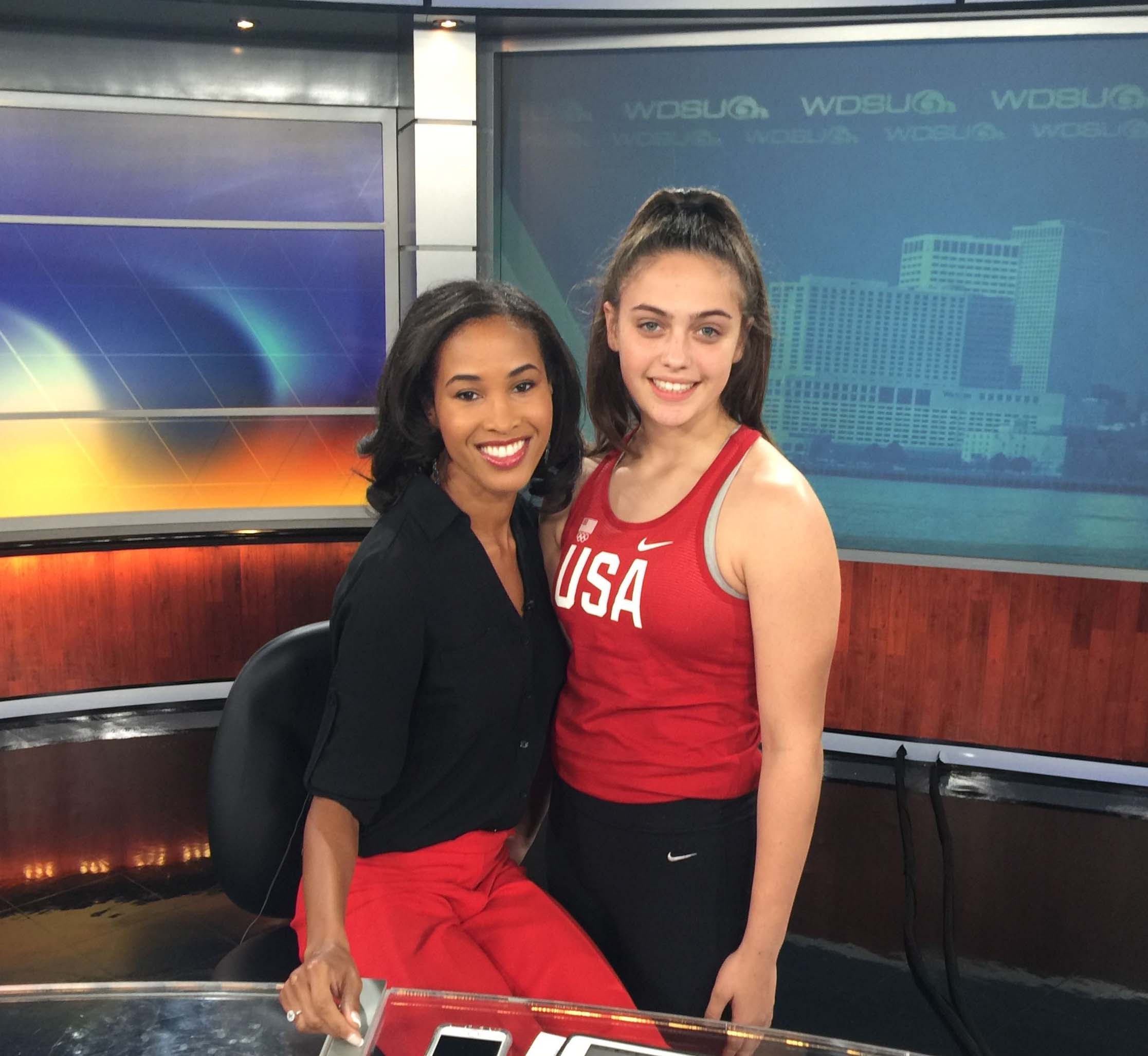Alexis with WDSU Channel 6 anchor Adriana Hopkins