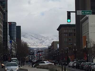 Salt Lake City snow-capped mountains