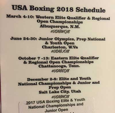 USA Boxing 2018 Schedule