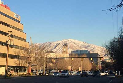 Salt Lake City's snow-capped mountains