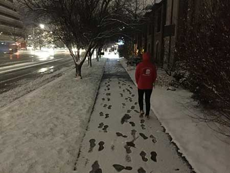 Snow walk in Salt Lake City